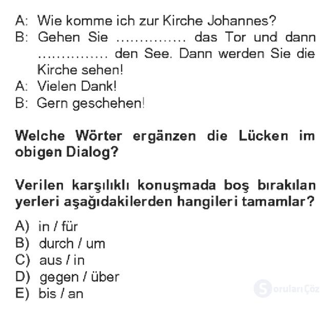 Almanca IV Bahar Dönemi Final 2. Soru