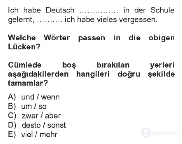Almanca IV Bahar Dönemi Final 4. Soru