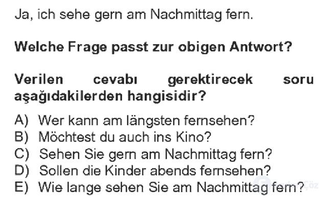 Almanca IV Bahar Dönemi Final 5. Soru
