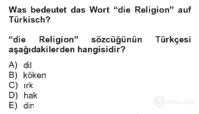 Almanca IV Bahar Dönemi Final 7. Soru