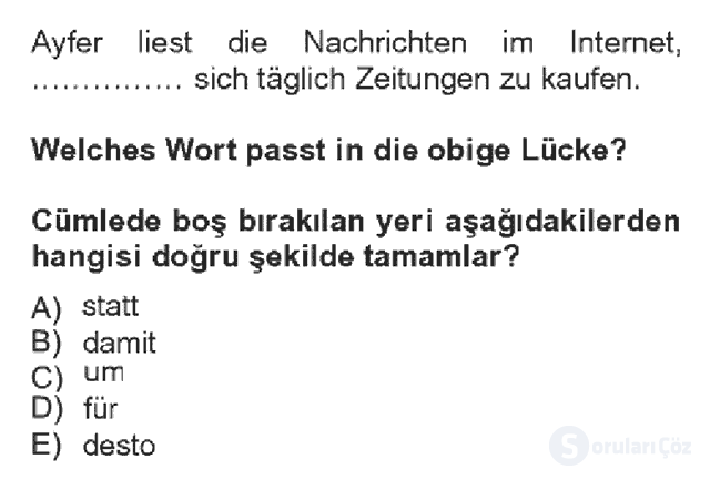 Almanca IV Bahar Dönemi Final 8. Soru
