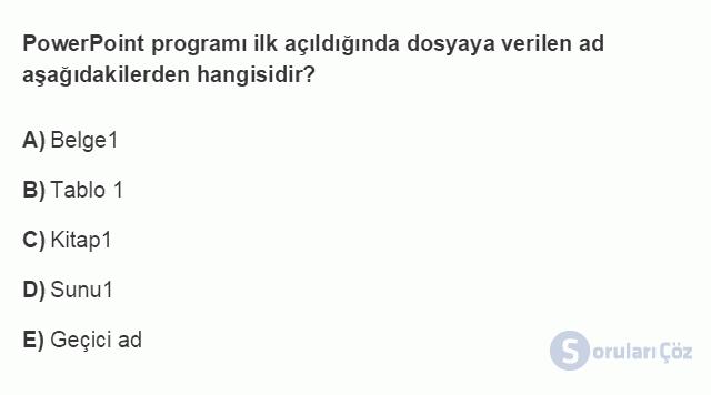 BİL101U 5. Ünite Ofis Yazılımları - Sunu Programları Testi I 1. Soru