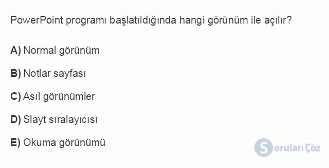 BİL101U 5. Ünite Ofis Yazılımları - Sunu Programları Testi I 19. Soru