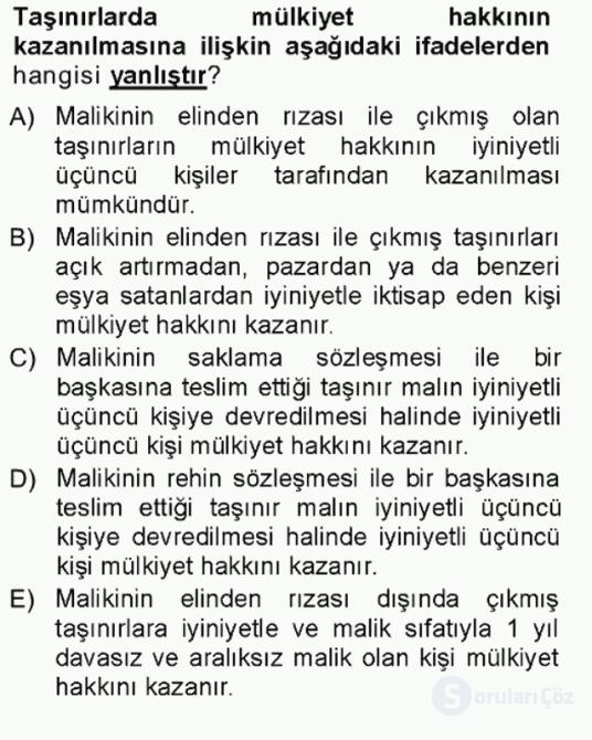 Hukukun Temel Kavramları Tek Ders Sınavı 12. Soru