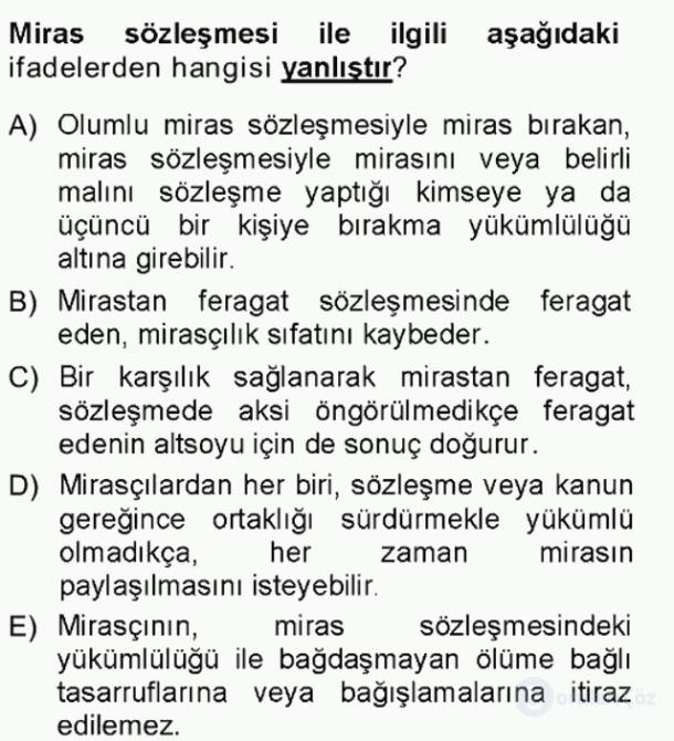 Hukukun Temel Kavramları Tek Ders Sınavı 14. Soru