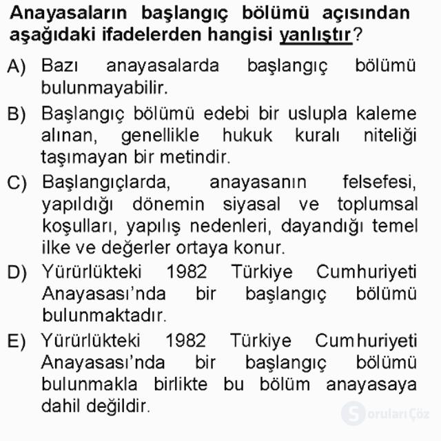 Hukukun Temel Kavramları Tek Ders Sınavı 17. Soru
