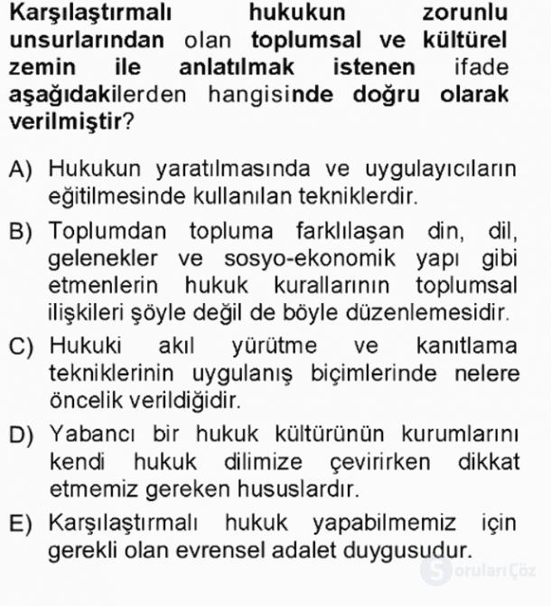 Hukukun Temel Kavramları Tek Ders Sınavı 6. Soru
