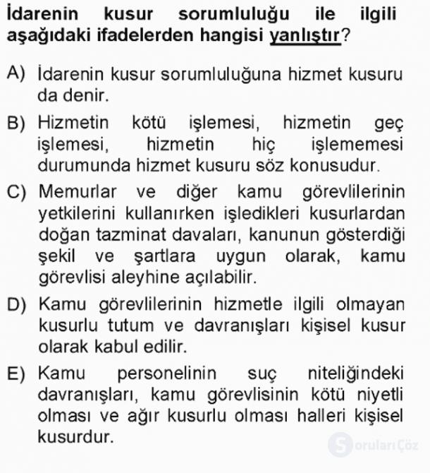 İdare Hukukuna Giriş Tek Ders Sınavı 17. Soru