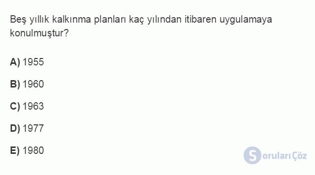 İKT402U 7. Ünite Türkiye'de Finansal Yapı, Krizler ve Ekonomik İstikrar Kararları Testi I 10. Soru