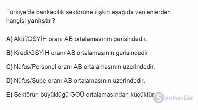 İKT402U 7. Ünite Türkiye'de Finansal Yapı, Krizler ve Ekonomik İstikrar Kararları Testi I 13. Soru