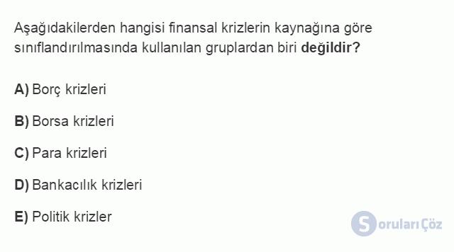 İKT402U 7. Ünite Türkiye'de Finansal Yapı, Krizler ve Ekonomik İstikrar Kararları Testi I 15. Soru