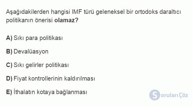 İKT402U 7. Ünite Türkiye'de Finansal Yapı, Krizler ve Ekonomik İstikrar Kararları Testi I 17. Soru