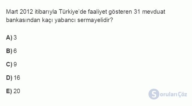 İKT402U 7. Ünite Türkiye'de Finansal Yapı, Krizler ve Ekonomik İstikrar Kararları Testi I 4. Soru