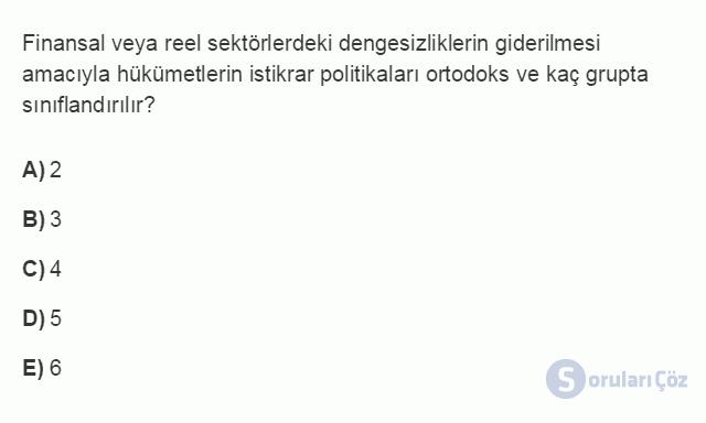 İKT402U 7. Ünite Türkiye'de Finansal Yapı, Krizler ve Ekonomik İstikrar Kararları Testi I 7. Soru