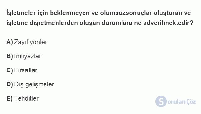 İŞL405U 5. Ünite İç Çevre Analizi Testi I 1. Soru