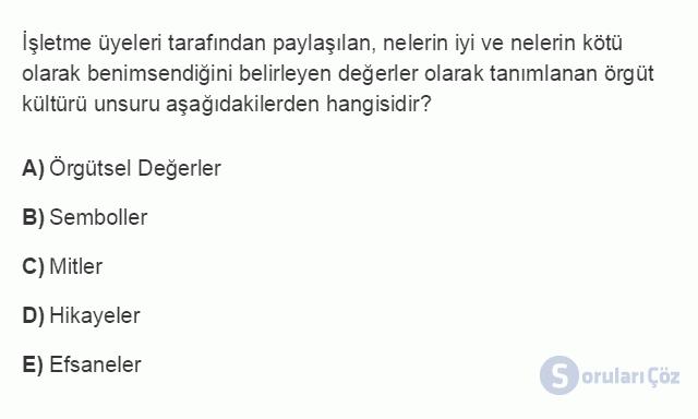 İŞL405U 5. Ünite İç Çevre Analizi Testi I 15. Soru