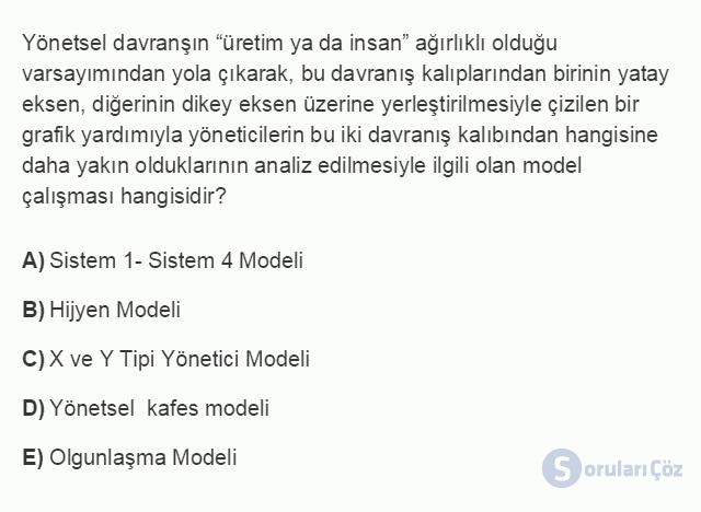 İŞL205U 2. Ünite Klasik ve Neo-Klasik Yönetim Kuramları Testi I 17. Soru
