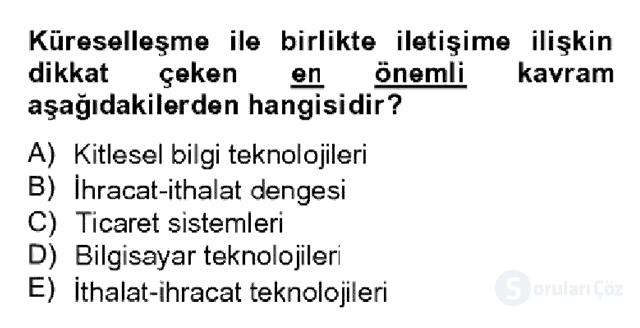 Temel Bilgi Teknolojileri II Bahar Dönemi Final 14. Soru
