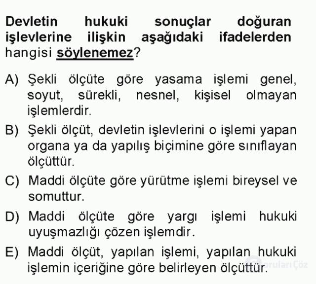 Türk Anayasa Hukuku Tek Ders Sınavı 10. Soru