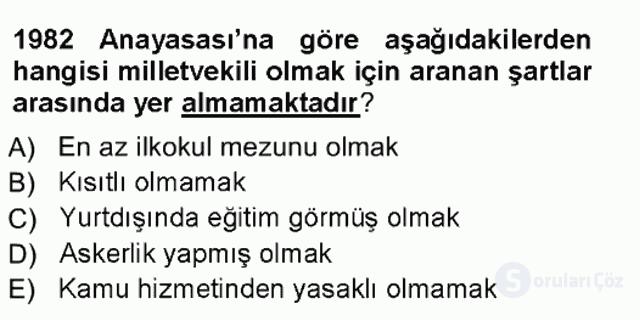 Türk Anayasa Hukuku Tek Ders Sınavı 12. Soru