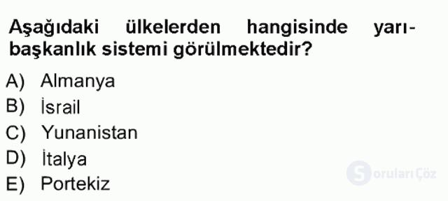 Türk Anayasa Hukuku Tek Ders Sınavı 13. Soru