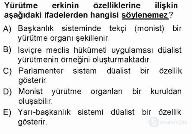Türk Anayasa Hukuku Tek Ders Sınavı 15. Soru