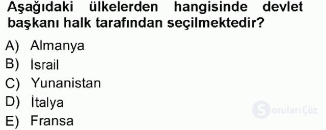 Türk Anayasa Hukuku Tek Ders Sınavı 16. Soru