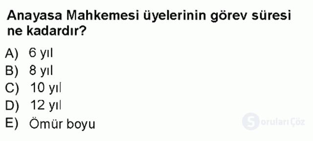 Türk Anayasa Hukuku Tek Ders Sınavı 18. Soru
