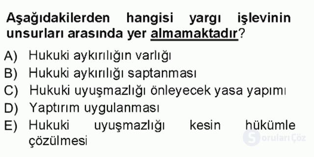 Türk Anayasa Hukuku Tek Ders Sınavı 19. Soru