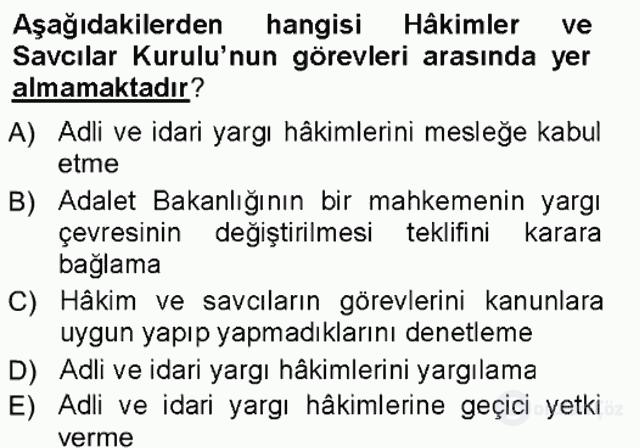 Türk Anayasa Hukuku Tek Ders Sınavı 20. Soru