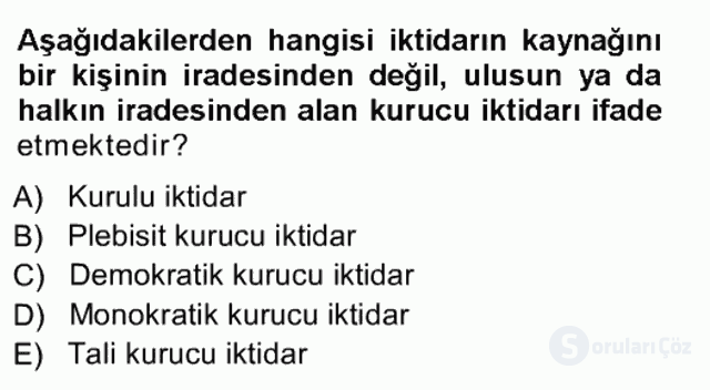 Türk Anayasa Hukuku Tek Ders Sınavı 3. Soru