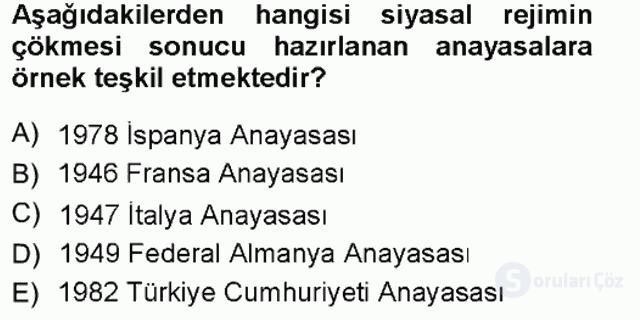 Türk Anayasa Hukuku Tek Ders Sınavı 4. Soru