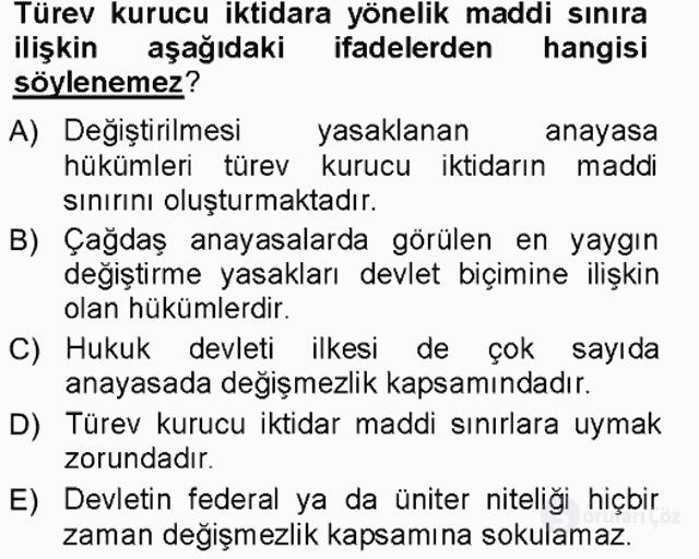 Türk Anayasa Hukuku Tek Ders Sınavı 5. Soru