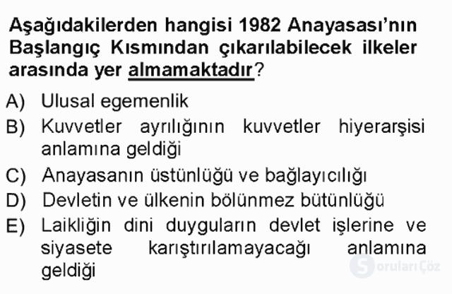 Türk Anayasa Hukuku Tek Ders Sınavı 7. Soru