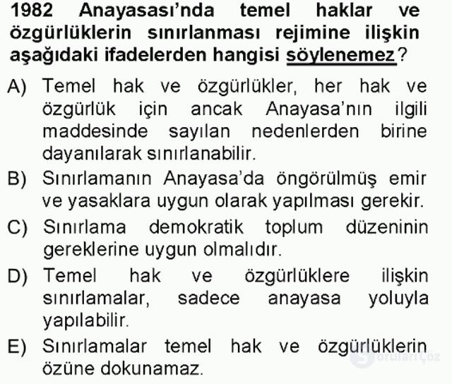 Türk Anayasa Hukuku Tek Ders Sınavı 8. Soru