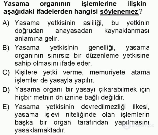 Türk Anayasa Hukuku Tek Ders Sınavı 9. Soru