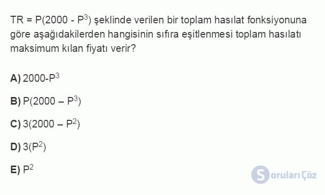 İKT303U 3. Ünite Üstel ve Logaritmik Fonksiyonlar Testi I 3. Soru