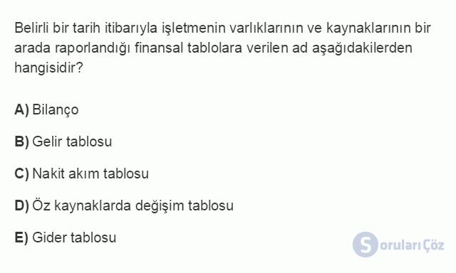 İŞL107U 8. Ünite İşletmelerde Muhasebe ve Finansal Yönetim Testi I 12. Soru