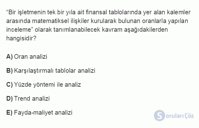 İŞL107U 8. Ünite İşletmelerde Muhasebe ve Finansal Yönetim Testi I 17. Soru