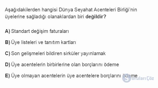 TRZ201U 8. Ünite Türkiye'de Turizm Testi I 11. Soru