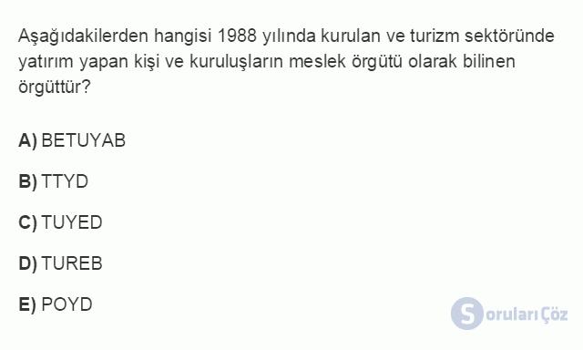 TRZ201U 8. Ünite Türkiye'de Turizm Testi I 12. Soru
