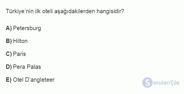 TRZ201U 8. Ünite Türkiye'de Turizm Testi I 18. Soru
