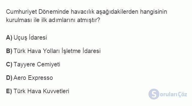TRZ201U 8. Ünite Türkiye'de Turizm Testi I 19. Soru