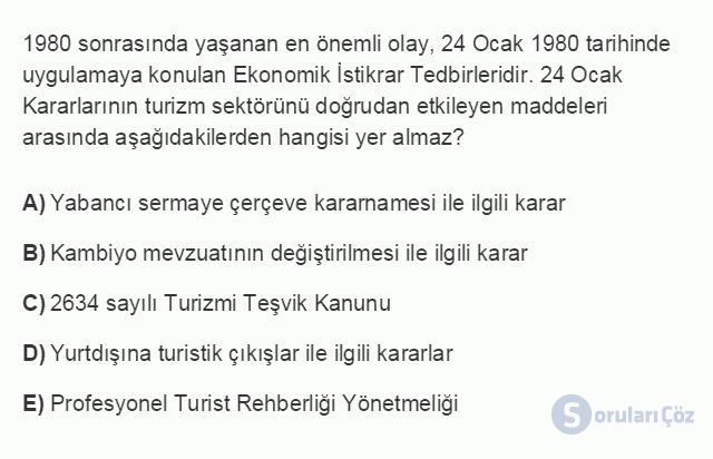 TRZ201U 8. Ünite Türkiye'de Turizm Testi I 2. Soru