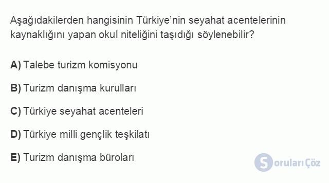 TRZ201U 8. Ünite Türkiye'de Turizm Testi I 20. Soru