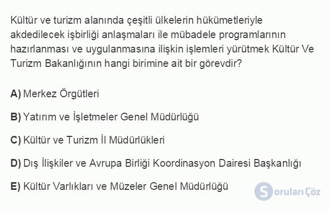 TRZ201U 8. Ünite Türkiye'de Turizm Testi I 3. Soru