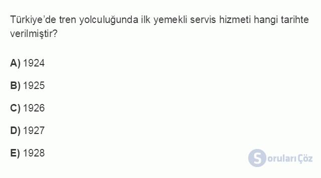 TRZ201U 8. Ünite Türkiye'de Turizm Testi I 4. Soru