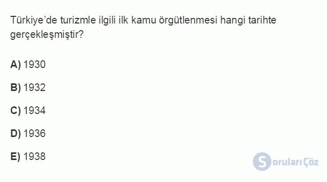 TRZ201U 8. Ünite Türkiye'de Turizm Testi I 5. Soru