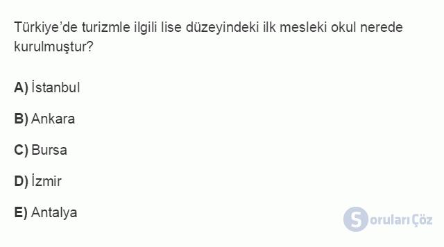 TRZ201U 8. Ünite Türkiye'de Turizm Testi I 6. Soru