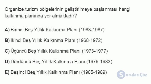 TRZ201U 8. Ünite Türkiye'de Turizm Testi I 8. Soru